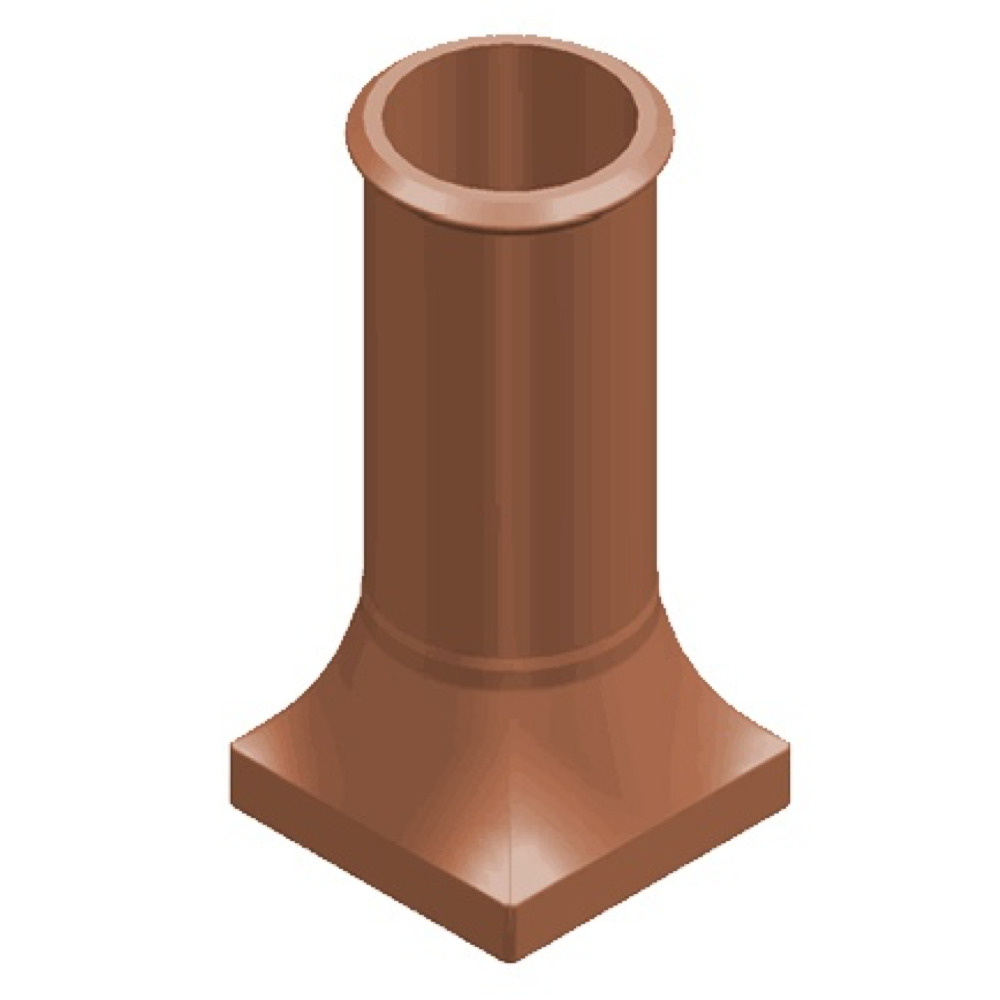 Chimney Pot Square Base Round Pot
