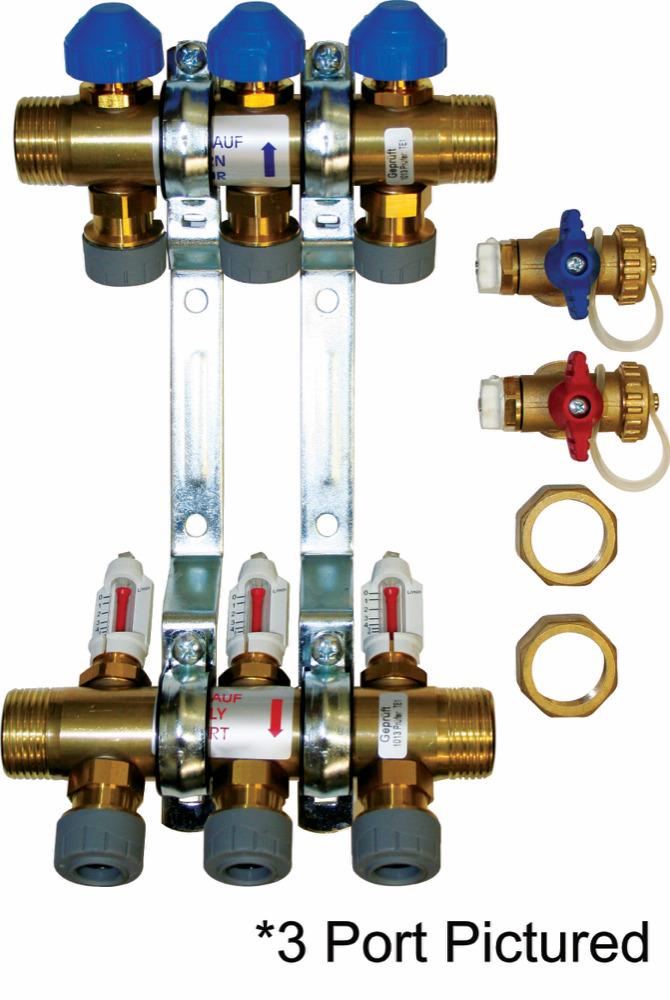 Underfloor Heating Stainless Steel 15mm Manifold 6 Port PB12756