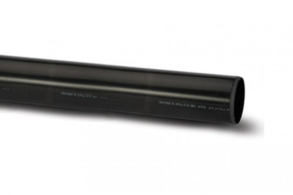 Polypipe P430B Black 3M Plain End Pipe 110mm Soil