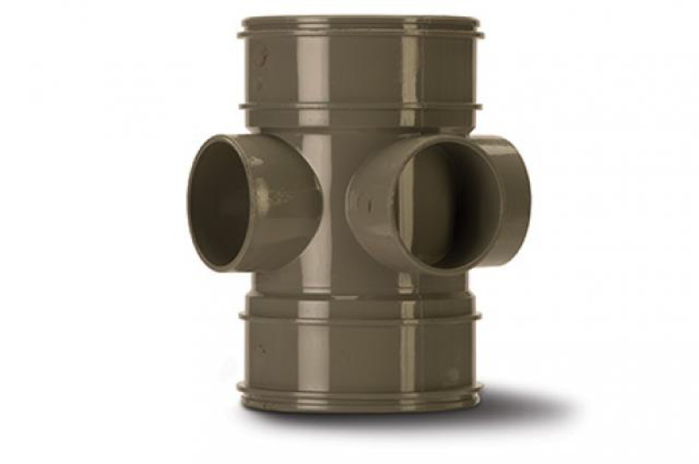 Polypipe SWE60SG Solvent Grey B/Pipe Double Socket 3W 110mm Soil