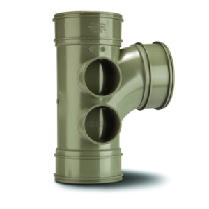 Polypipe SWT26SG Solvent Grey Branch Triple Socket 4B 110mm Soil
