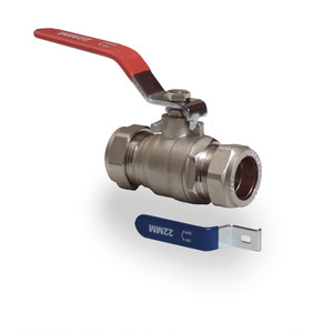 42mm Blue/Red Lever Ball Valve Water